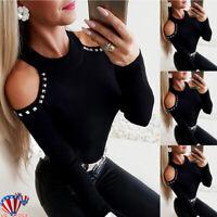 Women Rivet T-shirt Tops Lady Cold Shoulder Long Sleeve Casual Blouse Tee Jumper