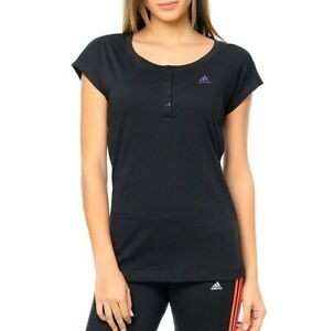 Adidas Ess Young Tee Ladies Shirt Casual Tunic Blouse Polo Fitness Top Black