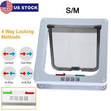 New Listing4 Way S M Pet Cat Puppy Dog Magnetic Lock Lockable Safe Flap Door Gate Us Stock