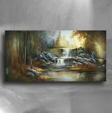 Waterfall Art Landscape Giclee canvas print PAINTING Contemporary DECOR M.Lang