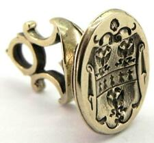 Georgian Brass Wax Seal Fob with Armorial Shield Crest.