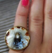 Kate Spade NY SEASHELL Tortoise Shell Tan Brown Cocktail Statement Ring Size 6