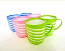 PACK OF 6 ASSORTED COLOURFUL DYNASTY PLASTIC MUGS BPA FREE TEA COFFEE 1332V