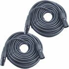 2 x 50FT XLR 3Pin Male Female Mic Microphone Audio Cord Shielded Balanced Cable