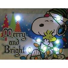 Peanuts Merry & Bright Lighted Canvas Wall Art 6 X 8 Inches Snoopy Charlie Brown