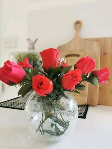 Round crackle effect Glass Vase with Red Roses