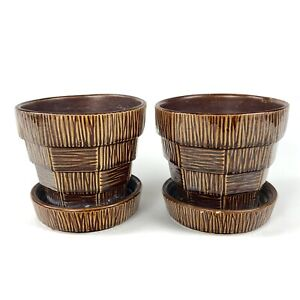 Pair of Vintage McCoy Pottery (USA) Basket Weave Planters in Great Condition