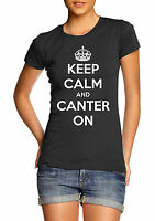 Keep Calm & Canter On T-Shirt Horse riding Pony Rider Girls Womens Ladies Gift