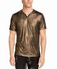 INC Mens T-Shirt Black Galaxy Gold Size 2XL Shimmer Classic Fit V Neck $29 081