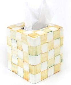 NEW MacKenzie-Childs Parchment Check Enamel Boutique Tissue Box Cover - HTF
