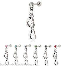Dangle Crystal Handcuff Tragus / Cartliage / Helix Bar ~ Ear Stud~ 6mm x 1.2mm