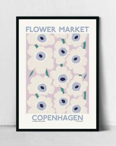 Flower Market Copenhagen Poster   Botanical Art Print