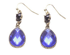 GORGEOUS DEEP SAPPHIRE GEMSTONE EARRINGS SET UNDER-LAID ANTIQUE GOLD (ZX57)