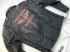 Harley Davidson Motorcycle Black Leather Jacket Laced Sides Biker Cop Mens M