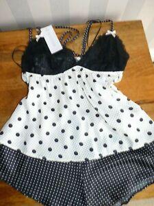 Marks and Spencer UK 10 NEW Black White satin Polka Dot Camisole Pyjama Set