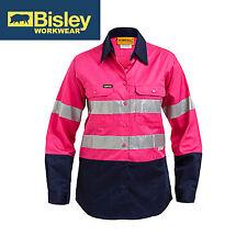 NEW! Bisley WOMEN'S PINK 2 TONE HI VIS COOL LIGHTWEIGHT GUSSET CUFF SHIRT WITH T