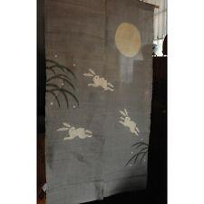 (WE05-202) Japanese Noren, linen, running rabbits
