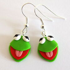 handmade green animal earrings The Muppet Show Kermit the frog Sesame Street Emo