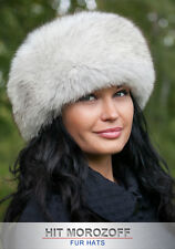 Blue FOX Winter Fur Hat White top Roller Schapka Pelzmütze Fellmütze Wintermütze