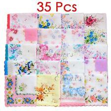 Lot 5-35Pcs Lady Child 100% Cotton Flower Vintage Handkerchiefs Quadrate Hankies