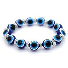 EVIL EYE BRACELET 12mm Resin Bead Blue Stretch NEW Luck Protection Turkish Nazar