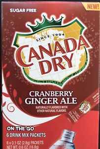 12 Boxes Of CANADA DRY CRANBERRY GINGER ALE SINGLE TO GO