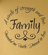 FAMILY A CIRCLE OF STRENGTH Vinyl Lettering Wall Art Decal Decor Inspirational