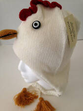Winter Sweater Knit Animal Hat Rooster Ivory Fleece Lined Child/Tween Size