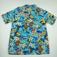 High Surf Mens Blue Short Sleeve Collared Button Down Cotton Shirt Size 2XL