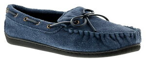 New Mens/Gents Navy Leather Suede Moccasin Slippers UK Size