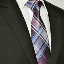 Mens Tartan Checked Tie Wedding SALE Satin Blue Grey Wine Red - Silk Gift