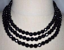 VTG 1959 CHRISTIAN DIOR GERMANY Triple Strand Black Glass Bead Choker Necklace