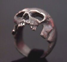 Diamond Eye Skull 925 Sterling Silver Ring Gothic Biker Harley Chopper Sz 10.25 Handsome Appearance Jewelry & Watches