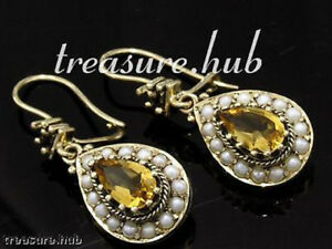 E263 Genuine 9ct Yellow Gold Natural CITRINE & PEARL Earrings Cluster Tear Drops