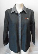 Kamlung Women's Black 3/4 Sleeve Side Pockets Button Up Top Blouse Size Large