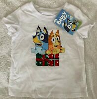 Bluey Christmas Xmas Boys Girl White T Shirt Top Sizes 2 3 4 & 5 NEW WITH TAG