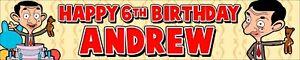 2 x Personalised Birthday Banners Mr Bean Photo Option