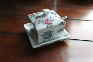 Chinese Antique Famille Rose Porcelain covered cup & saucer w/ spoon-1930s
