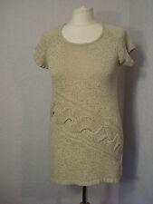 M&Co beige cotton mix cable front tunic jumper M (10-12)
