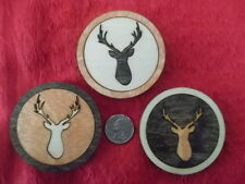 Set of 3 buck deer refrigerator magnets laser cut wood ornaments Made in USA