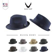 Fedora Hat - Black Horn Unisex Cotton Wool Blend Herringbone Trilby Fedora Hat