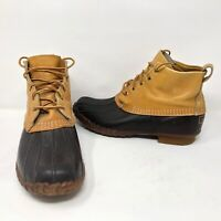 """VTG LL Bean Maine Hunting Shoes Duck Much 8"""" Boots Sz 10 M Leather Rubber Soles"""