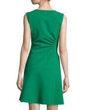 $398 NWT Diane Von Furstenberg DVF Dayna Ruched Crepe A-Line Dress Green SZ 2