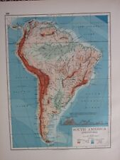1897 VICTORIAN MAP ~ SOUTH AMERICA PHYSICAL MOUNTAIN RANGE AMAZON PERU