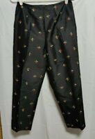 FINITY STUDIO Black Silk Ankle Pants Woman's Size 6 Embroidered Flowers