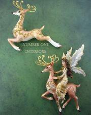 Gisela Graham Christmas fairy on reindeer and prancing deer decorations SET of 2