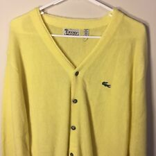 VINTAGE IZOD LACOSTE CARDIGAN SWEATER MENS L YELLOW SOLID ACRYLIC GOLF CASUAL