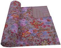 Beige Floral Kantha Quilt Indian Bedspread Queen Reversible Handmade Throw Decor