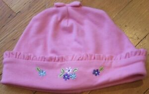 NEW Vintage 2001 GYMBOREE Pink FUN FLORALS Beanie HAT with Bow Size 3-6 mo NWT