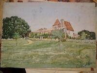Ecole FRANCAISE XIX DESSIN AQUARELLE PAYSAGE MAISON DORDOGNE DRAWING 1870-1880